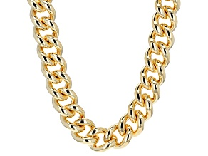 18k Yellow Gold Over Bronze Large Curb Link Necklace 20 inch