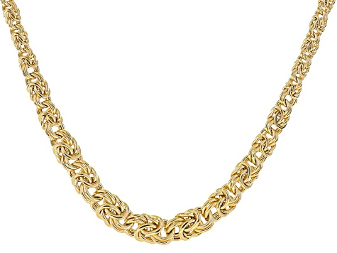 18k Yellow Gold Over Bronze Graduated Flat Byzantine Link Necklace 20 inch