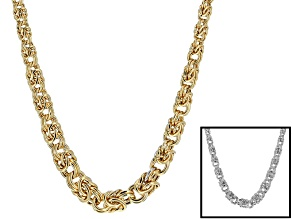 18k Yellow Gold Over & Rhodium Over Bronze Hollow Byzantine Necklace