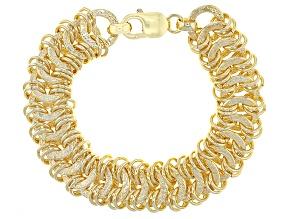 18k Yellow Gold Over Bronze interlocking Circles Bracelet 7.5 inch