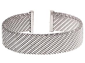 18k White Gold Over Bronze Fancy Bead Link Bangle Bracelet 7 inch