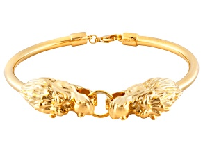 18k Yellow Gold Over Bronze Dragon Head Bracelet 7.5 inch