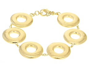 18k Yellow Gold Over Bronze Brushed Circles Bracelet 8 inch