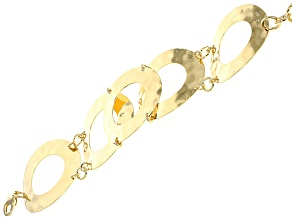 18k Yellow Gold Over Bronze Hammered Circles Bracelet 7.5 inch