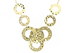 18k Yellow Gold Over Bronze Hammered Circles Necklace 18 inch