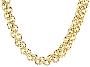 18k Yellow Gold Over Bronze Cable Link Necklace 20 inch