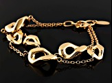 18k Yellow Gold Over Bronze Hollow Multi-Strand Bracelet 8 inch