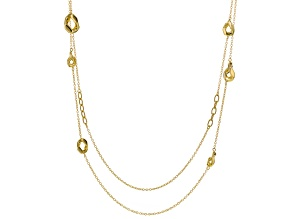 18k Yellow Gold Over Bronze Hollow Multi-Strand Necklace 34 inch