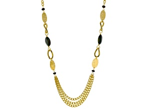 Agate Beads 18k Yellow Gold Over Bronze Multi-Strand Necklace 36 inch