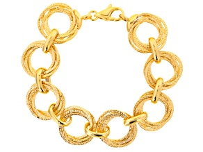 18k Yellow Gold Over Bronze Multi-Circles Bracelet 8.5 inch