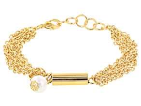 Pearl Simulant 18k Yellow Gold Over Bronze Mutli-Strand Bracelet 8 inch