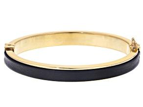 18k Yellow Gold Over Bronze Imitation Leather Trim Bangle Bracelet