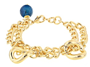Glass Bead 18k Yellow Gold Over Bronze Multi Strand Bracelet 8 inch