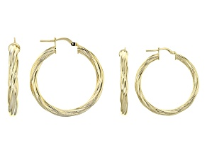 18k Yellow Gold Over Bronze Tube Hoop Earring Set Of Two