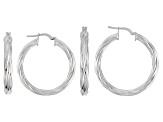 Rhodium Over Bronze Tube Hoop Earring Set Of Two