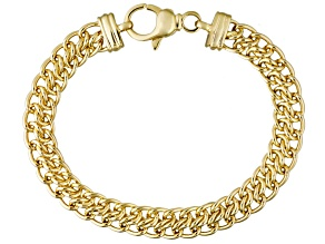 18k Yellow Gold Over Bronze Sedusa Link Bracelet 8 inch