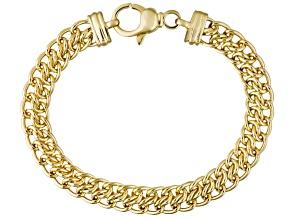 18k Yellow Gold Over Bronze Sedusa Link Bracelet 8 inch