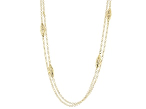 18k Yellow Gold Over Bronze Multi-Strand Necklace 30 inch