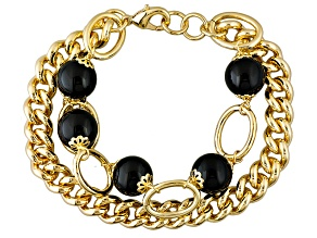 Black Agate Bead 18k Yellow Gold Over Bronze Curb Link Bracelet