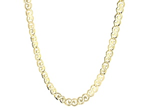 18k Yellow Gold Over Bronze Fancy Swirl Link Necklace 18 inch