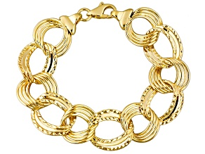 18k Yellow Gold Over Bronze Curb Bracelet 8.5 inch