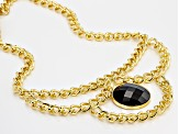 Black Agate Bead 18k Yellow Gold Over Bronze Curb Link Necklace 18 inch