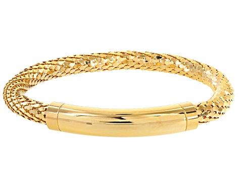 18k Yellow Gold Over Bronze Mesh Link Bracelet 7 5 Inch