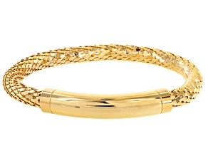 18k Yellow Gold Over Bronze Mesh Link Bracelet 7.5 inch