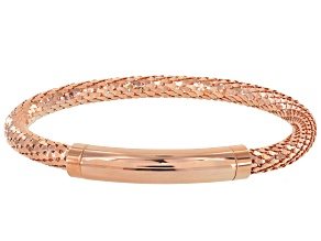 18k Rose Gold Over Bronze Mesh Link Bracelet 7.5 inch