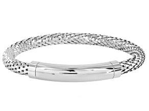 Rhodium Over Bronze Mesh Link Bracelet 8.5 inch