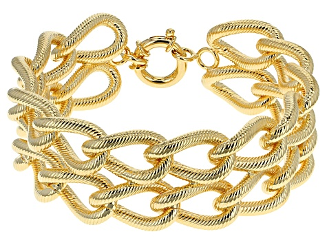 18k Yellow Gold Over Bronze Curb Link Bracelet 8.25