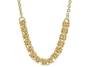 18k Yellow Gold Over Bronze Center Byzantine Link Necklace 20 inch