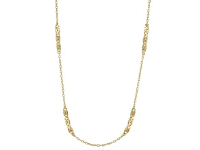 18k Yellow Gold Over Bronze Stations Cable Link Necklace 24 inch