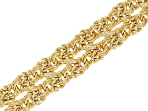 18k Yellow Gold Over Bronze Hollow Byzantine Link Bracelet 7.5 inch