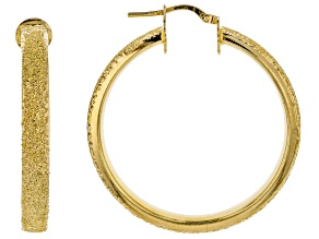 18k Yellow Gold Over Bronze Textured Large Tube Hoop Earrings 42mm X 5mm