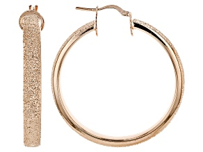 18k Rose Gold Over Bronze Textured Large Tube Hoop Earrings 42mm X 5mm