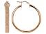 18k Rose Gold Over Bronze Textured Large Tube Hoop Earrings 42mm X 5mm