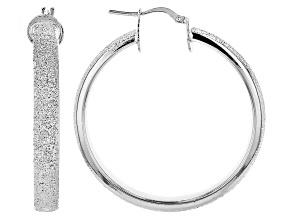 Rhodium Over Bronze Textured Large Tube Hoop Earrings 42mm X 5mm