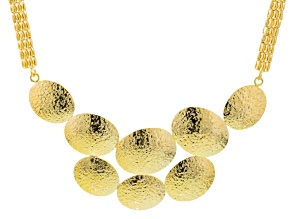 18k Yellow Gold Over Bronze Hammered Disk Bib Necklace 18 inch