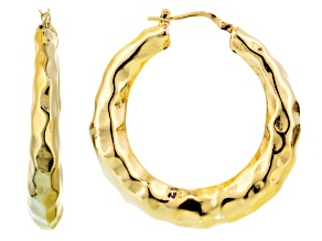 18k Yellow Gold Over Bronze Tube Hoop Earrings