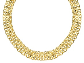 18k Yellow Gold Over Bronze Cable Link Necklace 18 inch