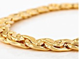 18k Yellow Gold Over Bronze Byzantine Link Necklace 20 inch