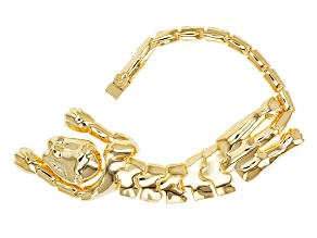 18k Yellow Gold Over Bronze Panther Bracelet