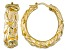 18k Yellow Gold Over Bronze Artformed Byzantine Link Hoop Earrings