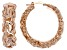 18k Rose Gold Over Bronze Artformed Byzantine Link Hoop Earrings