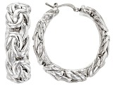 Rhodium Over Bronze Artformed Byzantine Link Hoop Earrings