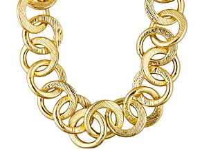18k Yellow Gold Over Bronze Cable Link Necklace 24 inch