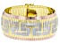 18K Yellow Gold, Rose Gold, and Rhodium Over Bronze Greek Key Omega Bracelet