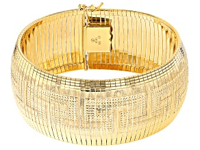 18k Yellow Gold Over Bronze Omega Link Bracelet 7.5 inch