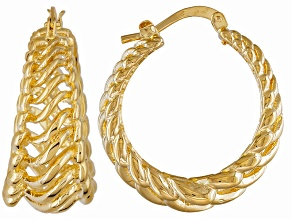 18k Yellow Gold Over Bronze Hoop Earrings